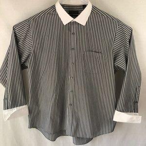Donald Trump Mens gray stripped button down shirt
